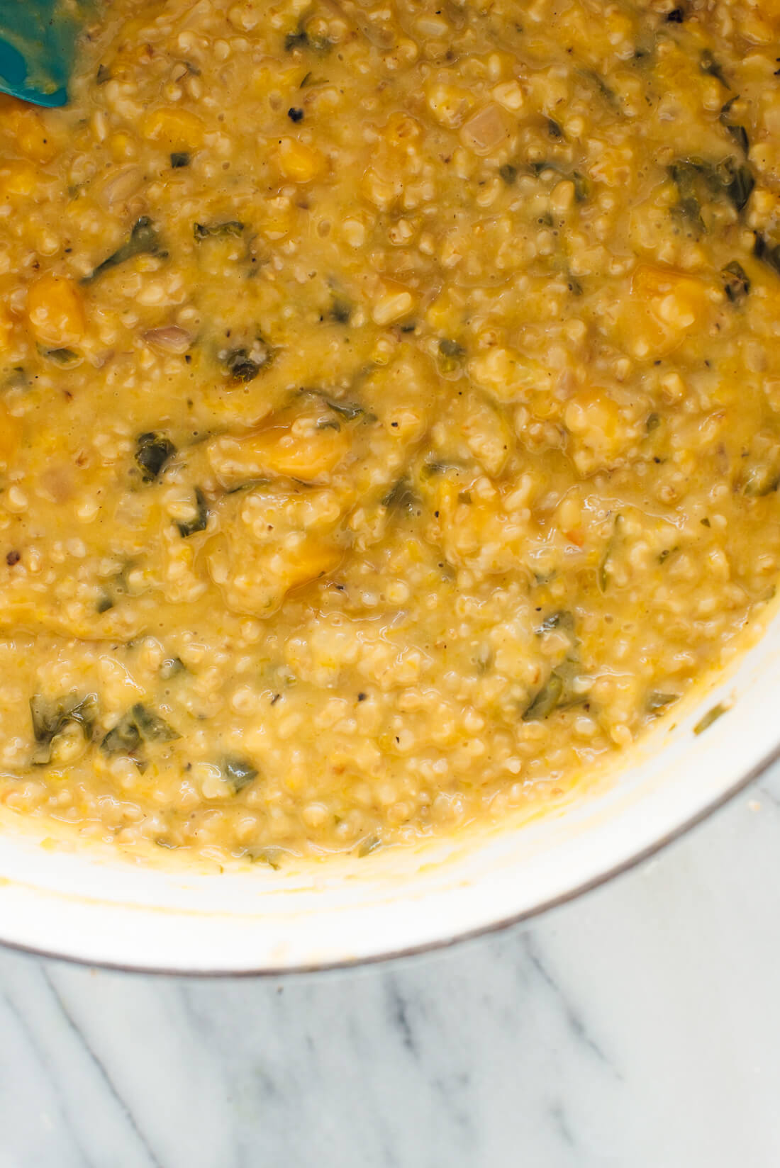 "Delicious steel-cut oat risotto! This ""risotto"" uses fiber-rich steel-cut oats instead of short-grain rice."