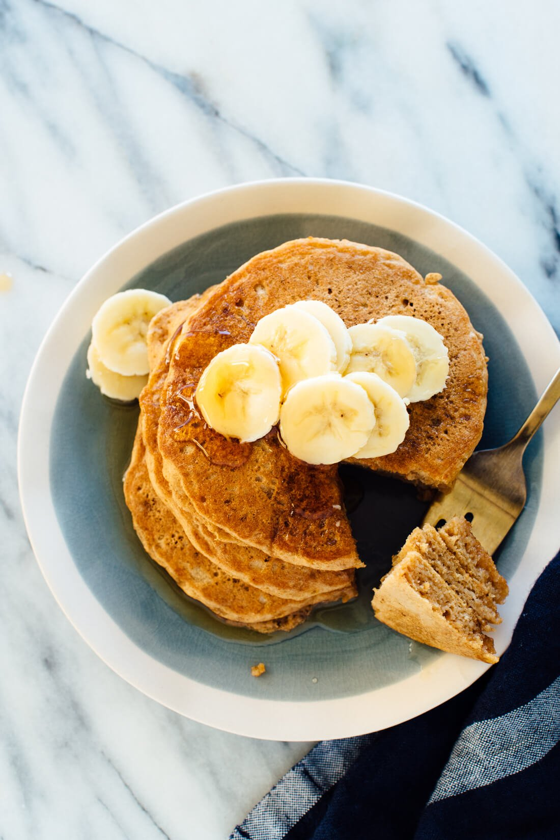 Absolutely delicious whole wheat pancakes recipe! I like mine with maple syrup and bananas on top.