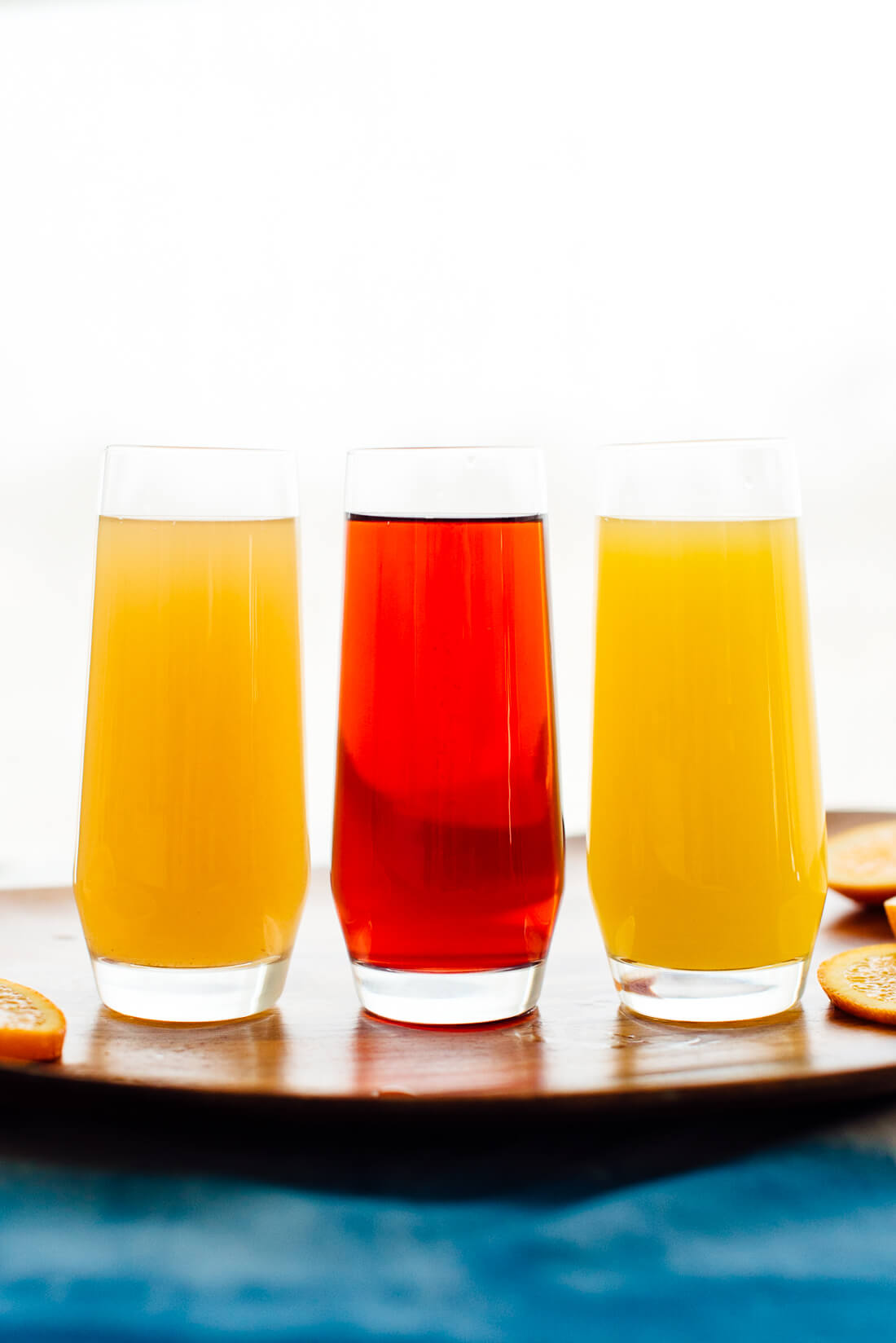 easy mimosa variations (pear mimosa, pomegranate mimosa and orange mimosa)