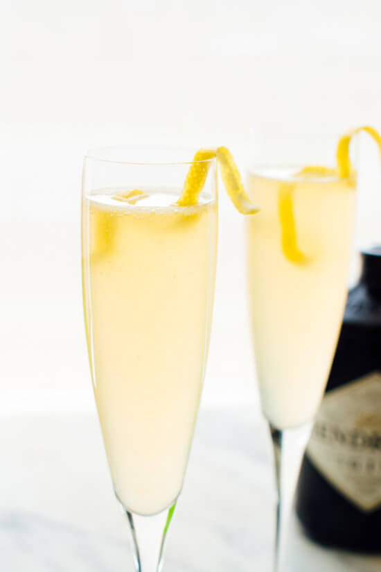 french 75 cocktail recipe with a lemon twist