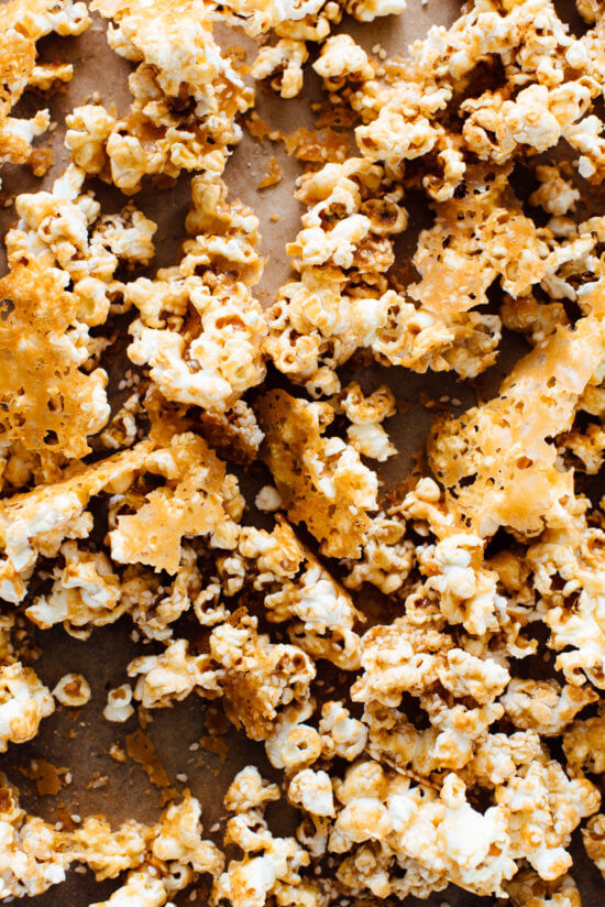"""halva"" popcorn recipe made with tahini, maple syrup and sesame seeds"