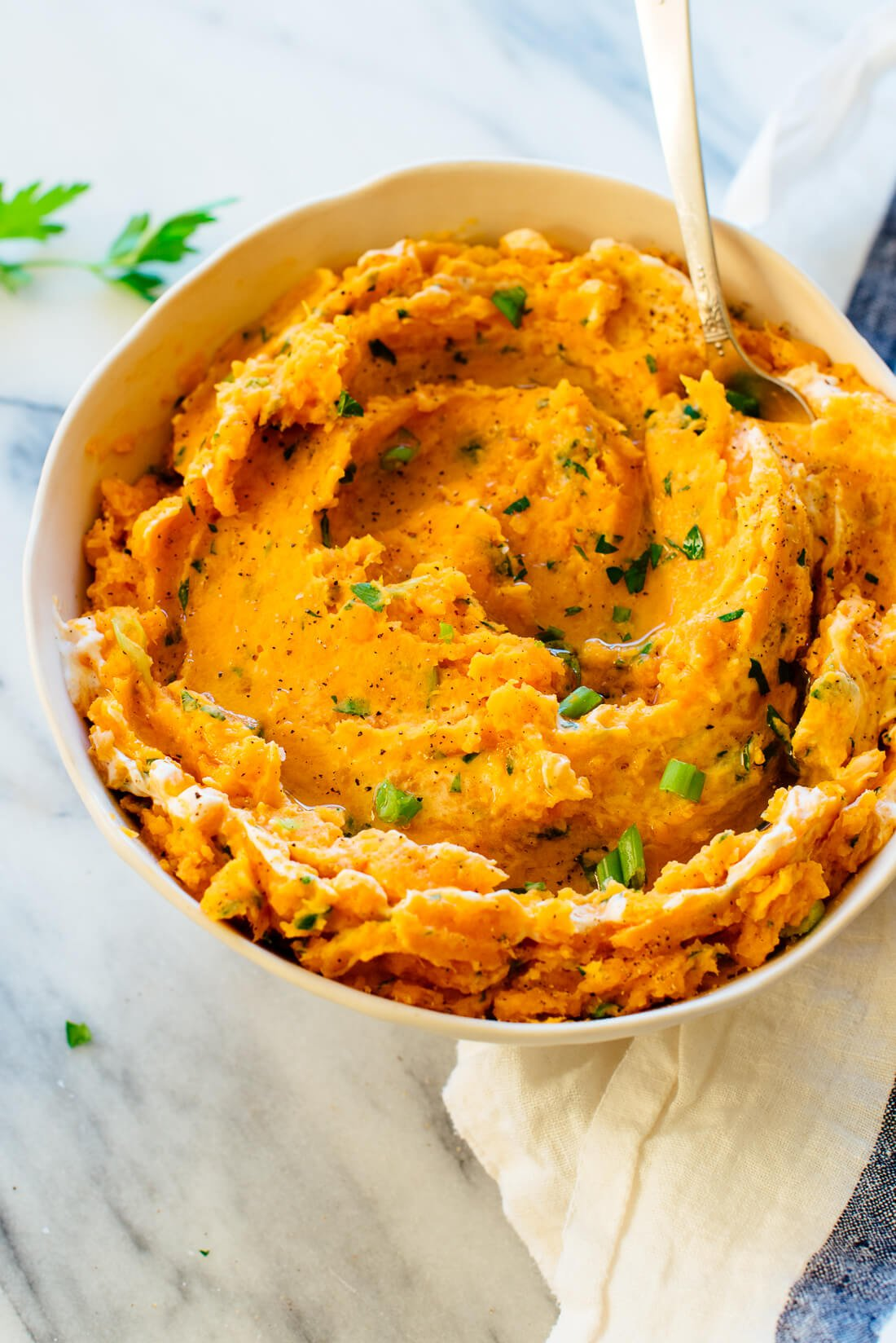 mashed sweet potatoes with herbs and sour cream