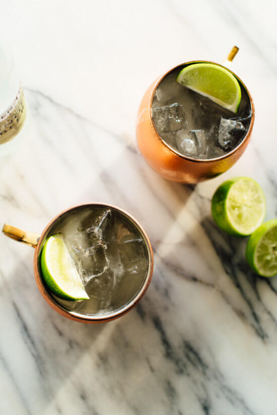 moscow mule cocktail overhead photo