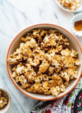 naturally sweetened caramel popcorn recipe made with tahini and maple syrup