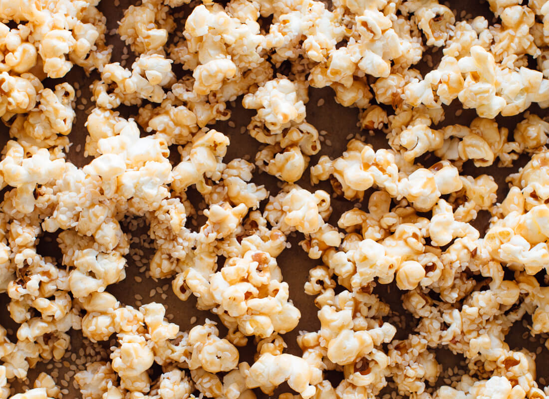close-up sesame popcorn recipe before baking
