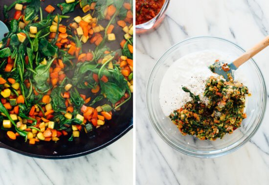 vegetable, spinach and cottage cheese mixture