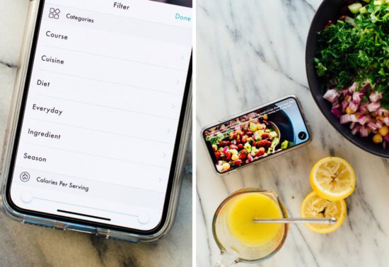app filters and recipe example