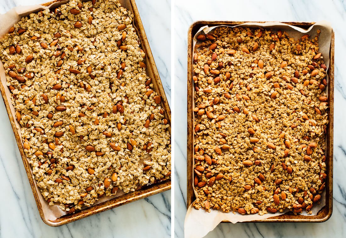 granola before and after baking