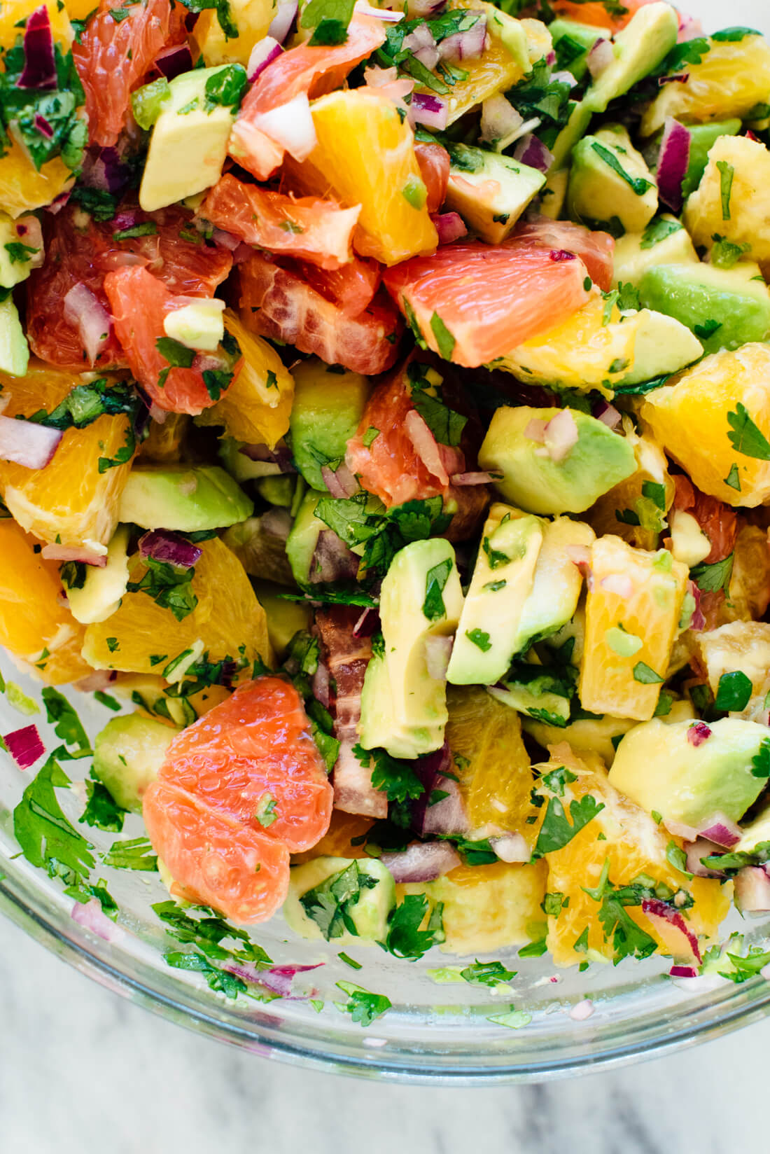 "seafood-free ""ceviche"" recipe with grapefruit, orange and avocado"