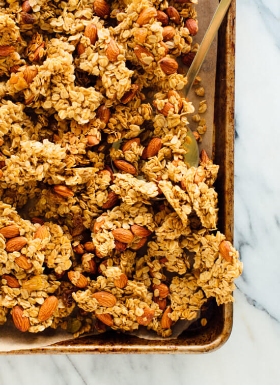 Clumps of orange almond granola