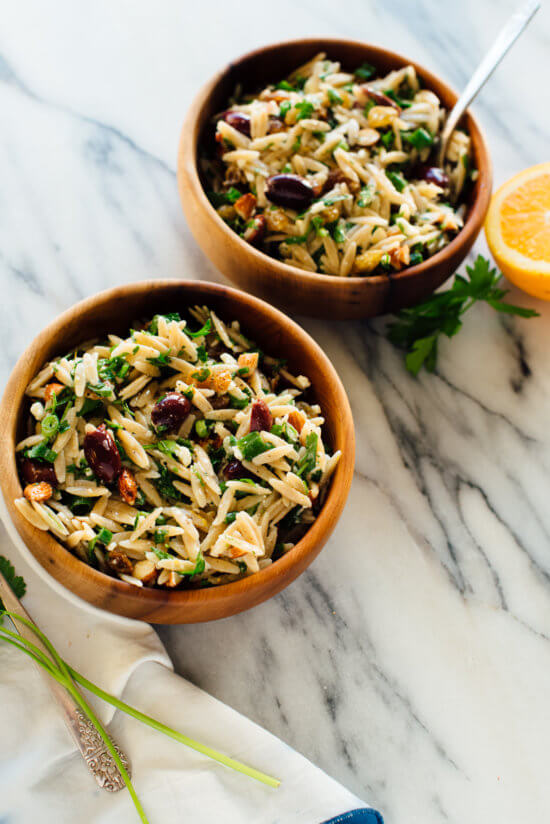 orange orzo salad recipe with parsley and almonds
