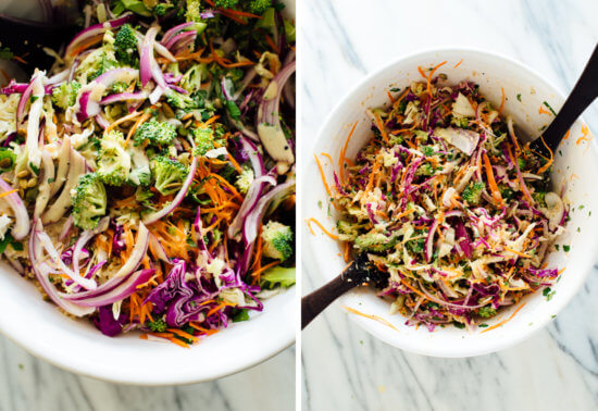 slaw mixed together