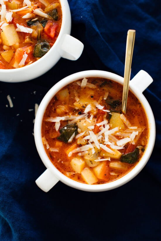 Vegetarian minestrone soup with Parmesan on top