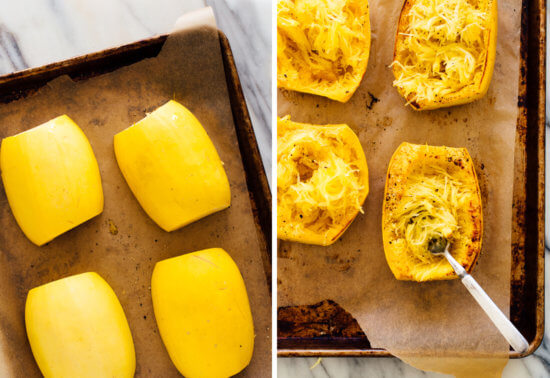 spaghetti squash before and after baking