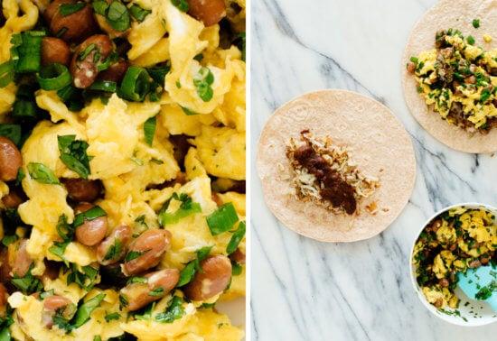 breakfast burrito components