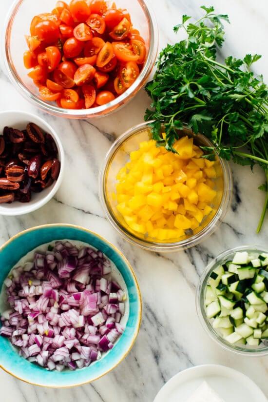 Chopped Greek salad ingredients