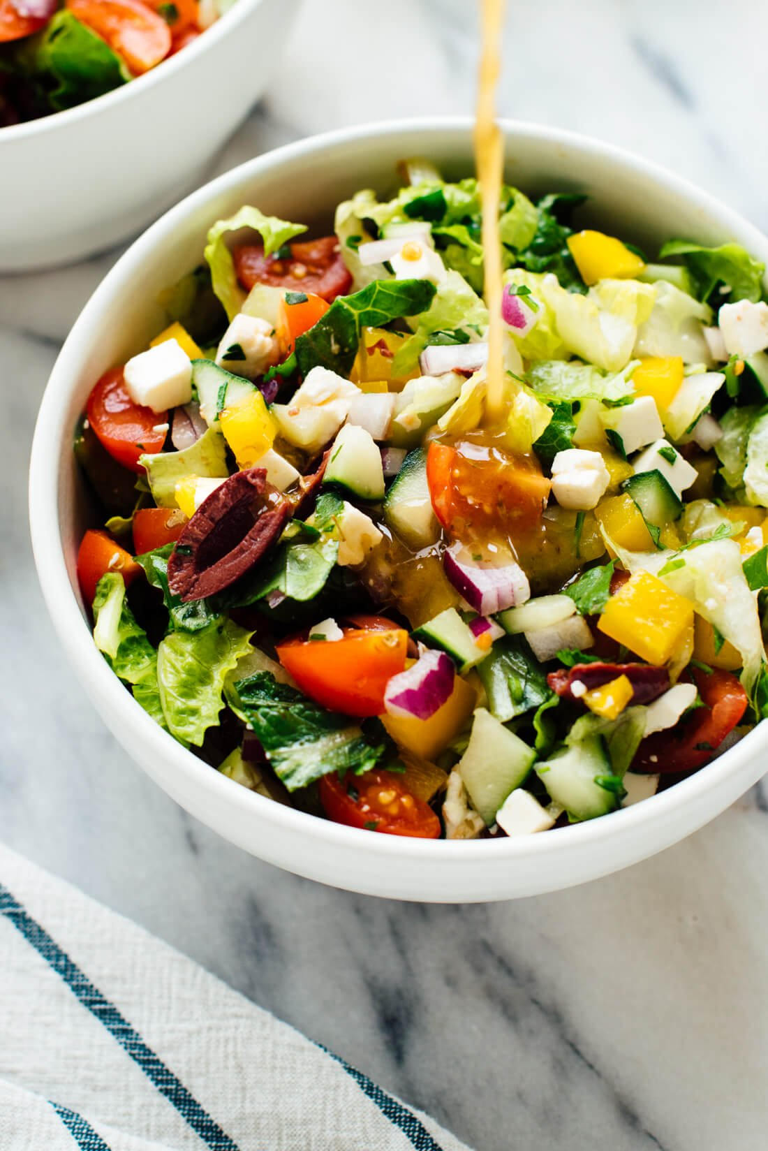 chopped Greek salad with homemade Greek vinaigrette
