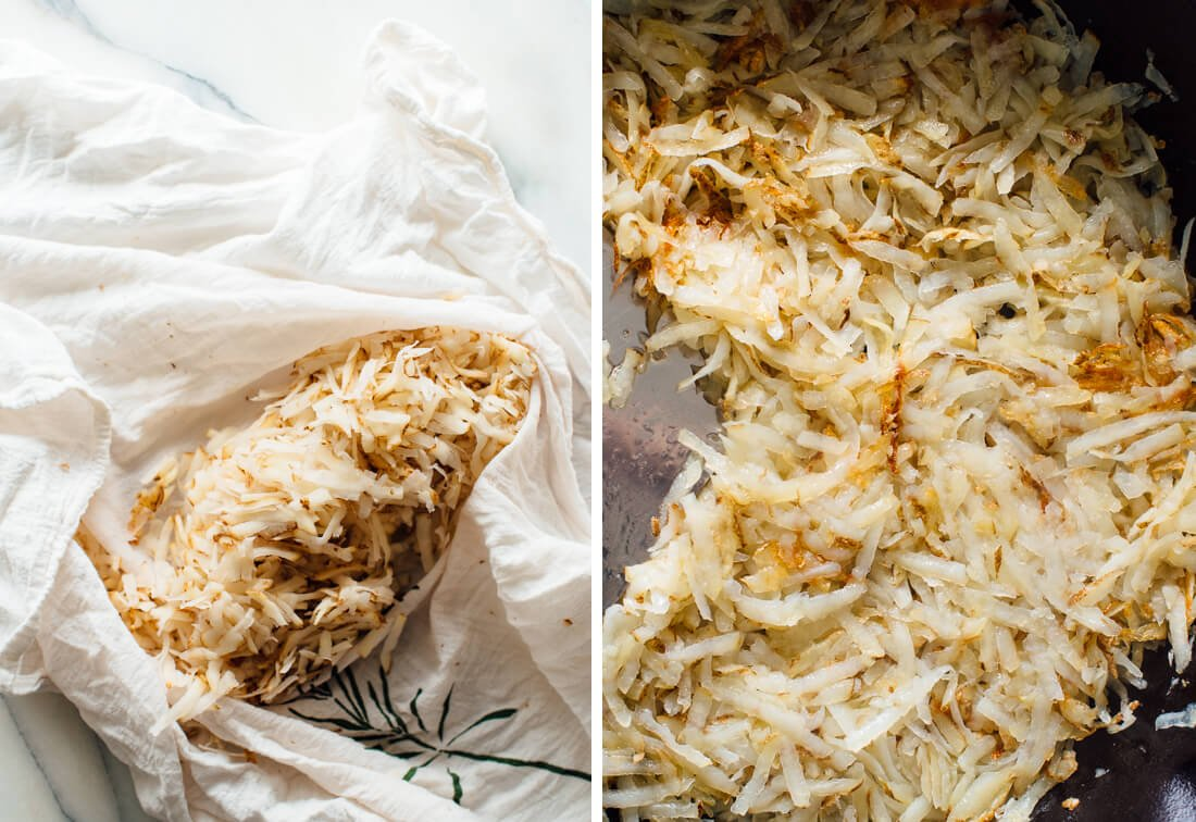 drained shredded potatoes