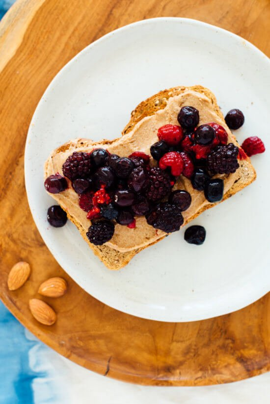 homemade almond butter with berries