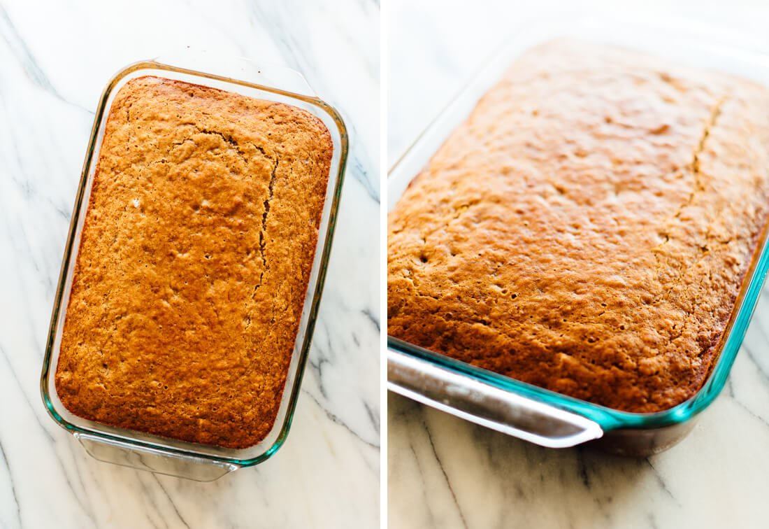 "large banana cake baked in 13x9"" pan"