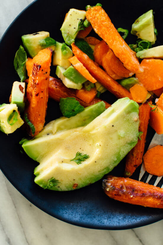 roasted and raw carrot salad with avocado single serving