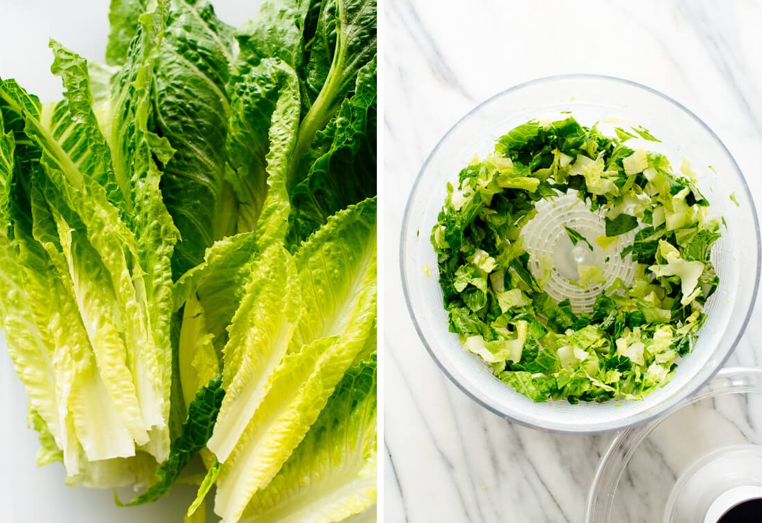 romaine lettuce in OXO salad spinner