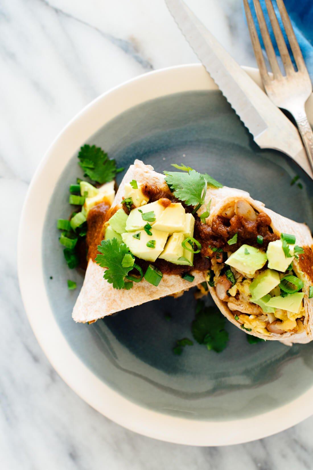 Burritos vegetarianos para el desayuno