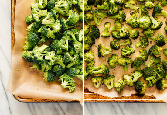 broccoli, before and after roasting