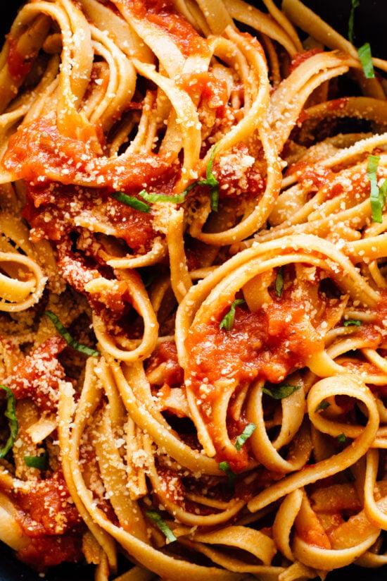 marinara sauce on pasta close-up