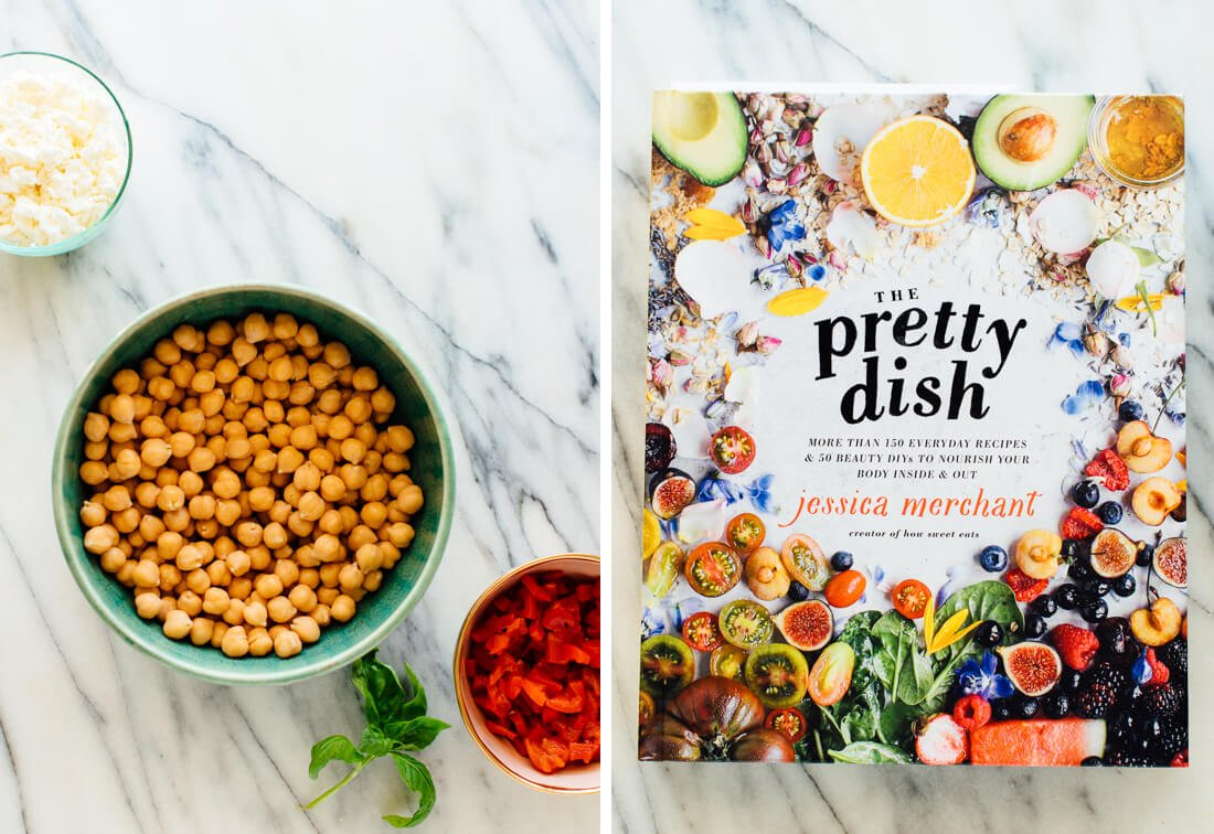 marinated chickpeas ingredients with The Pretty Dish cookbook by Jessica Merchant