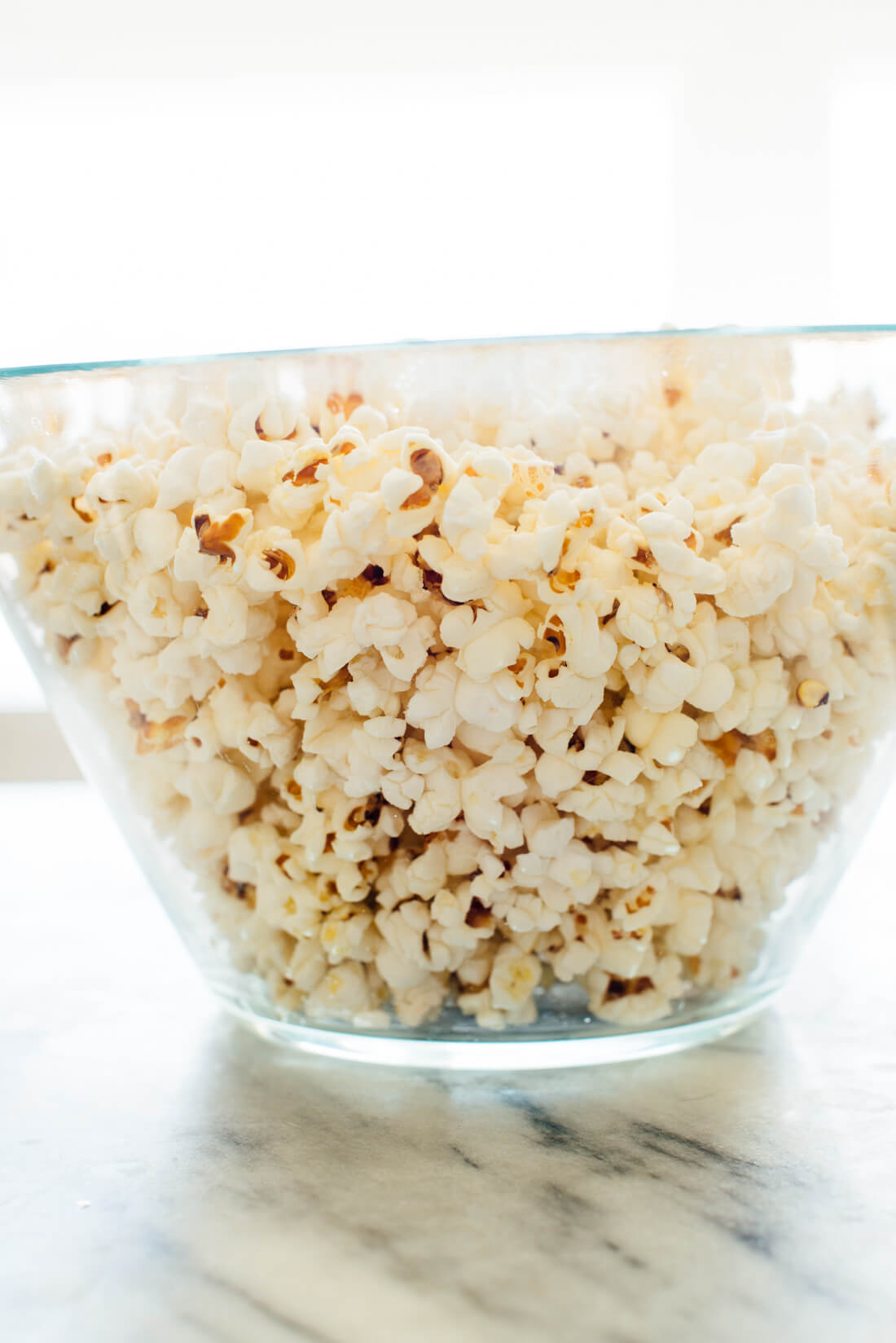 perfectly cooked stovetop popcorn
