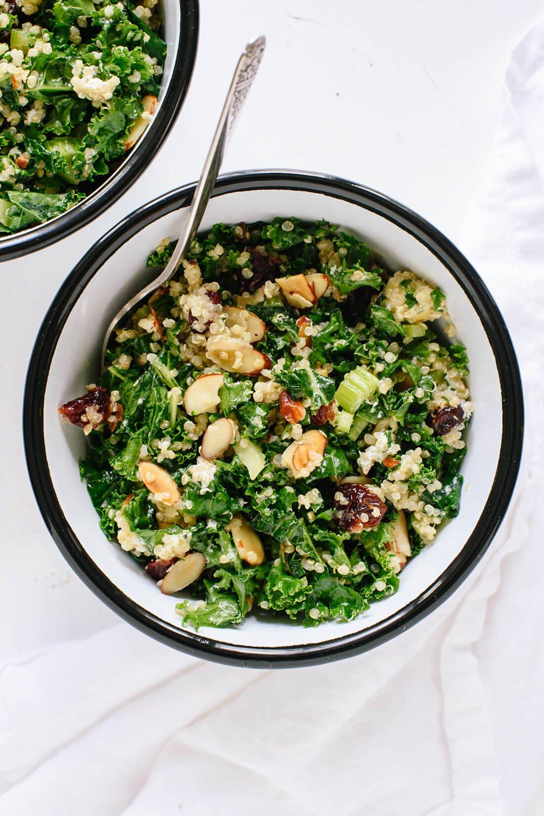 Kale and Quinoa Salad with Crisp Celery, Plumped Cranberries, and Lemon Dressing