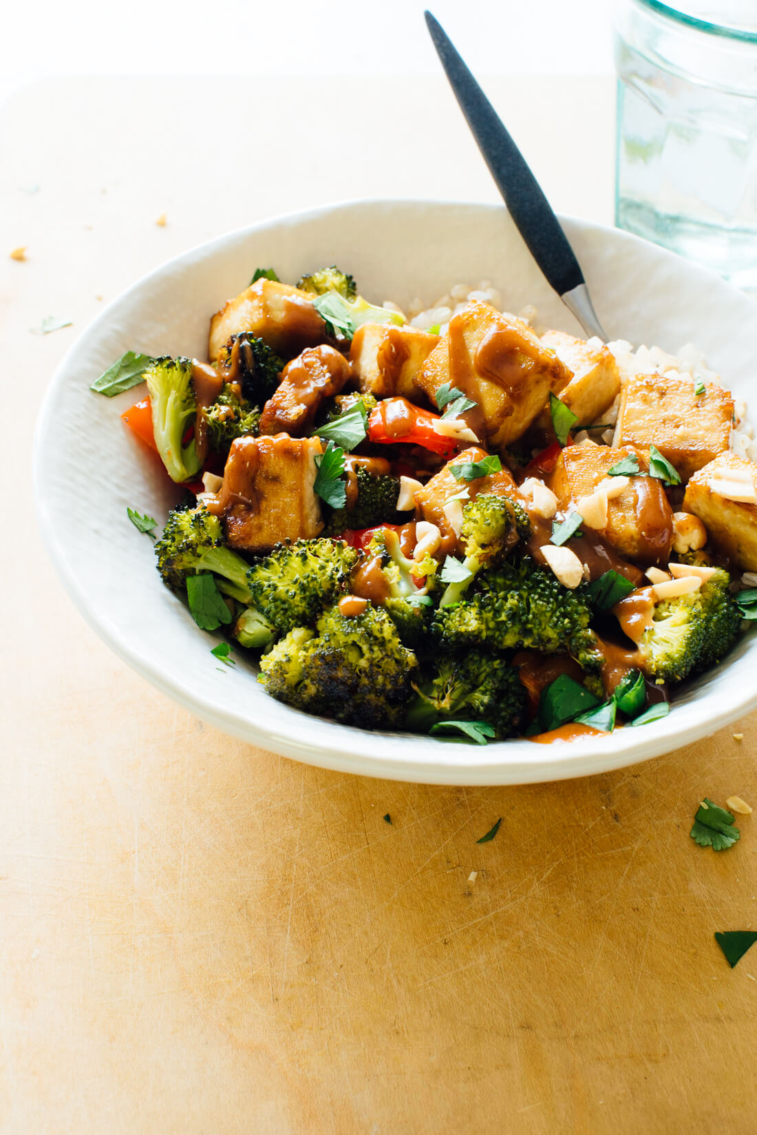 Roasted Broccoli, Bell Pepper, and Tofu Bowl with Peanut Sauce