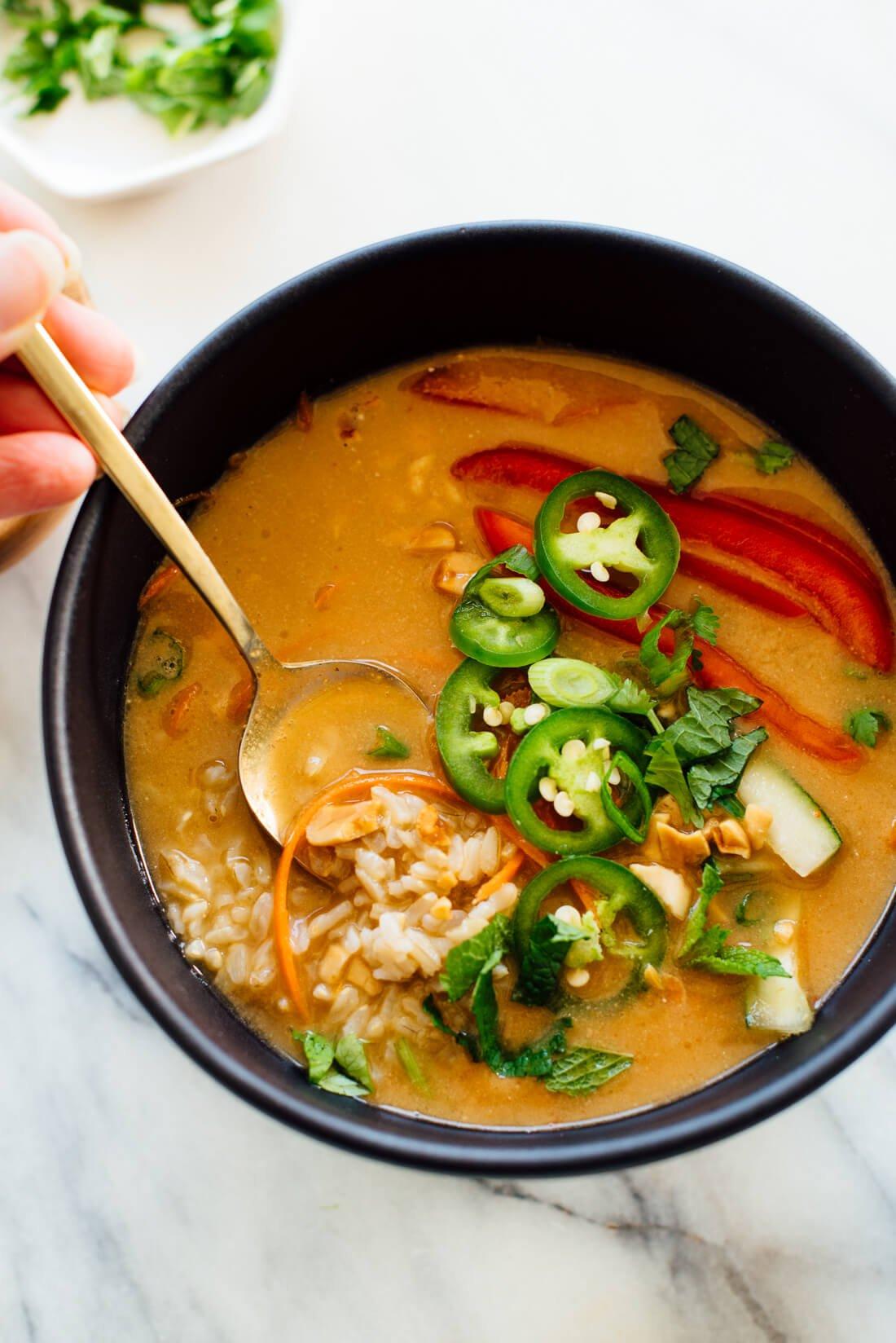 curried thai peanut rice bowls recipe
