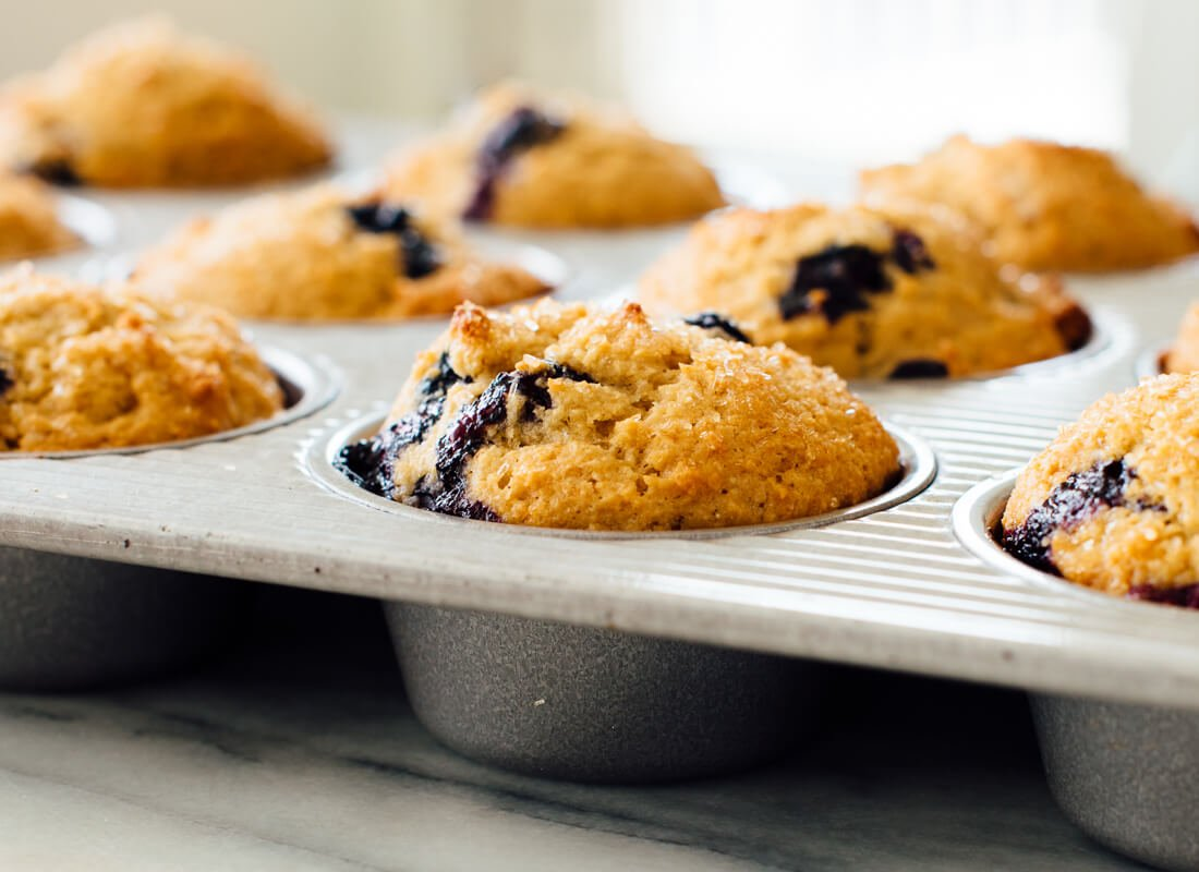 healthy blueberry muffins - side angle