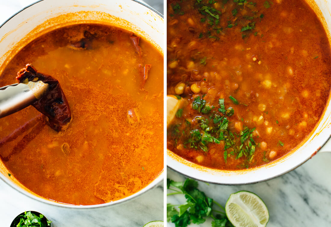 soup with chile pepper and cilantro