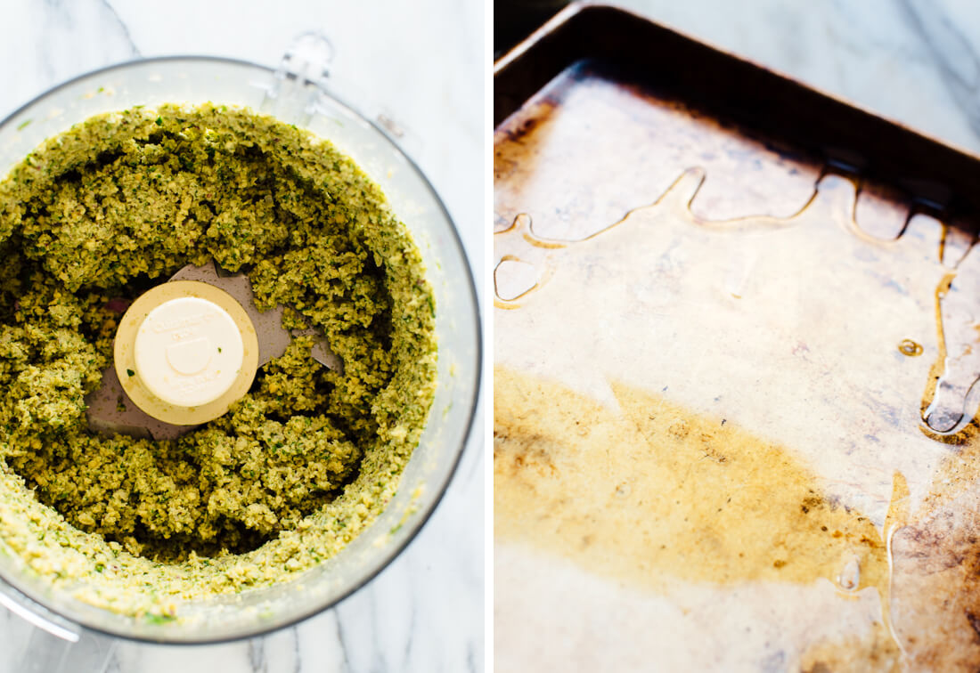 food processor with falafel mixture and sheet pan coated with olive oil