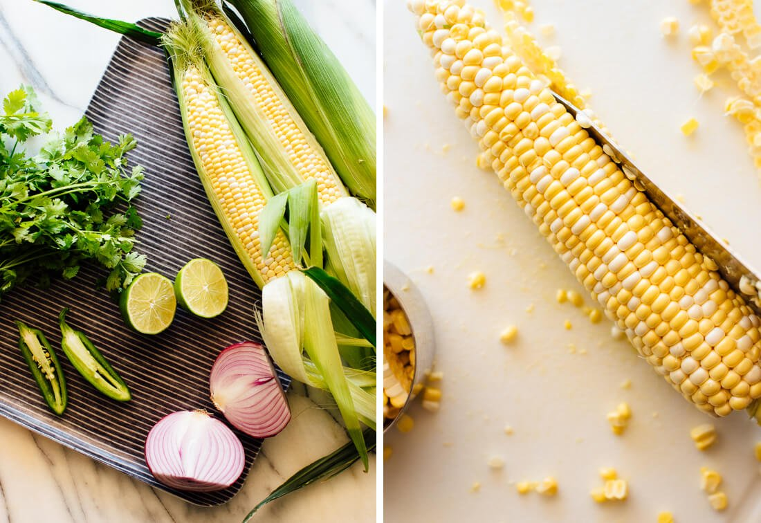 fresh corn, jalapeño, lime and red onion