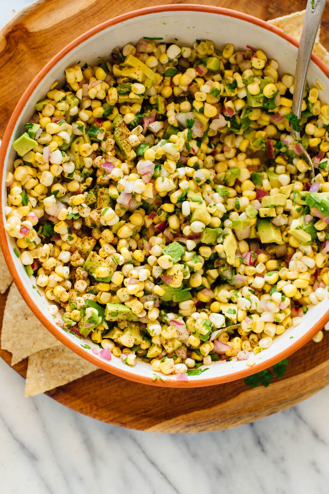 fresh corn salsa with optional avocado