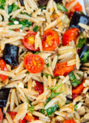 Herbed eggplant, tomato and orzo pasta with feta