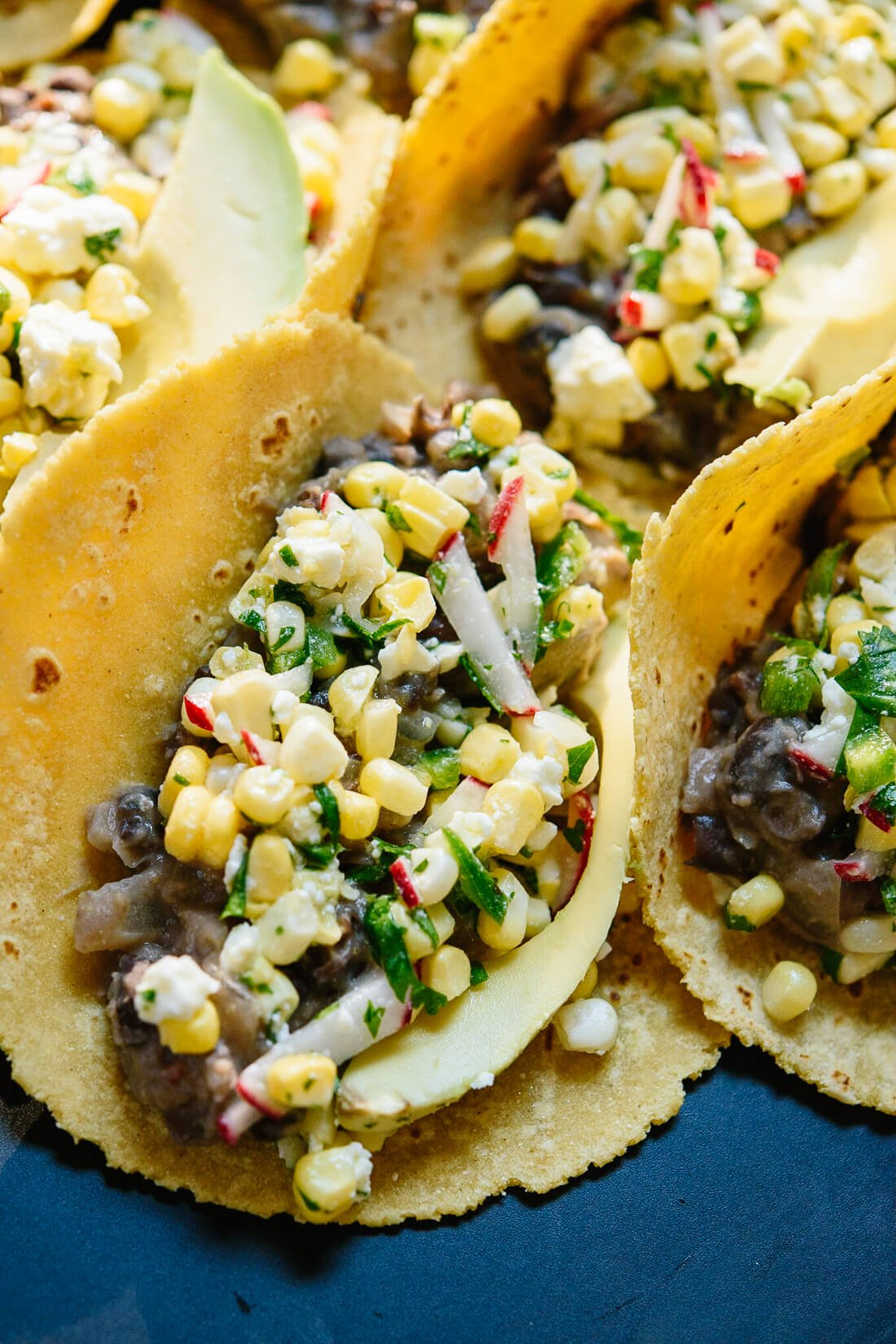 Spicy and sweet corn and black bean tacos