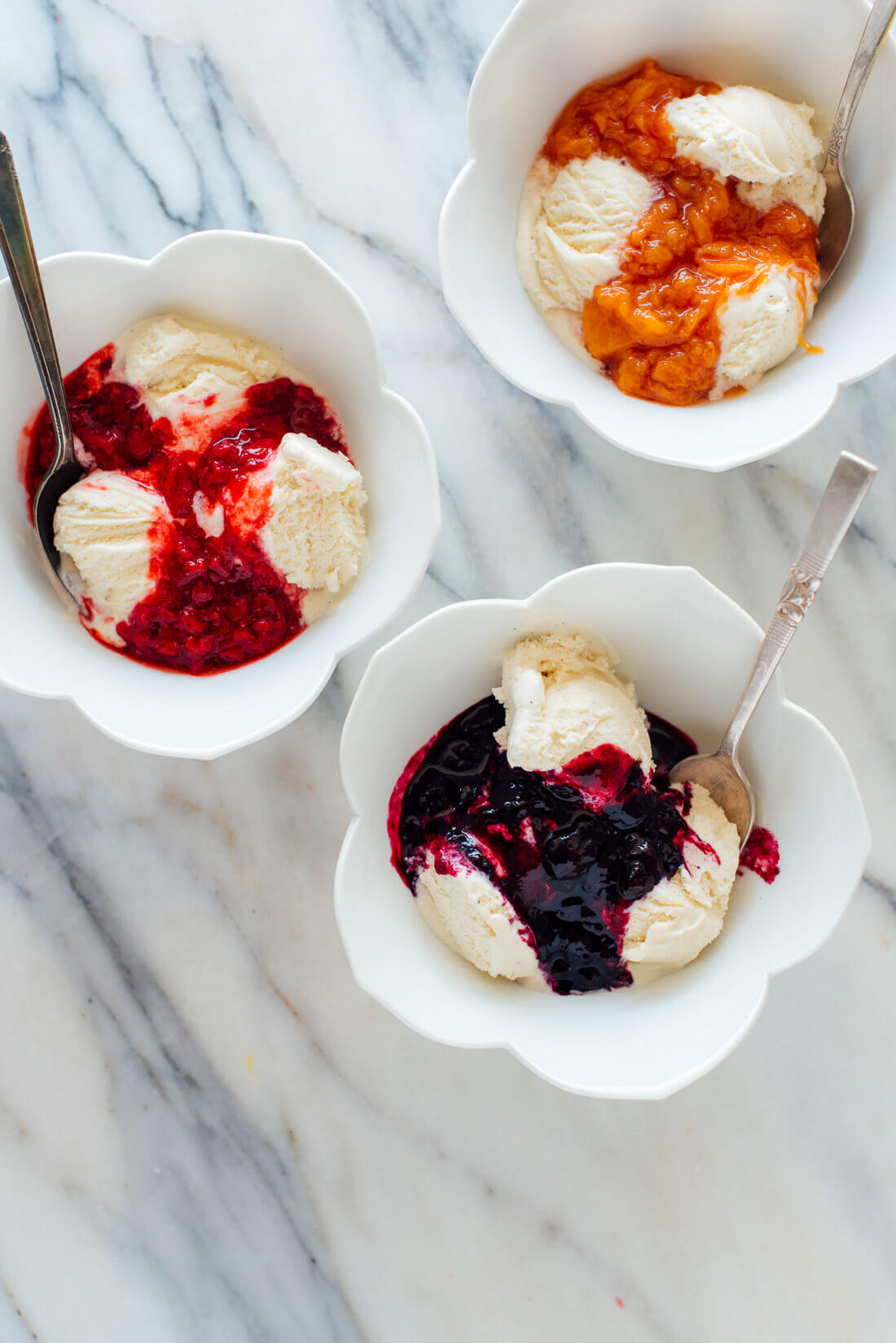 fruit compote on ice cream