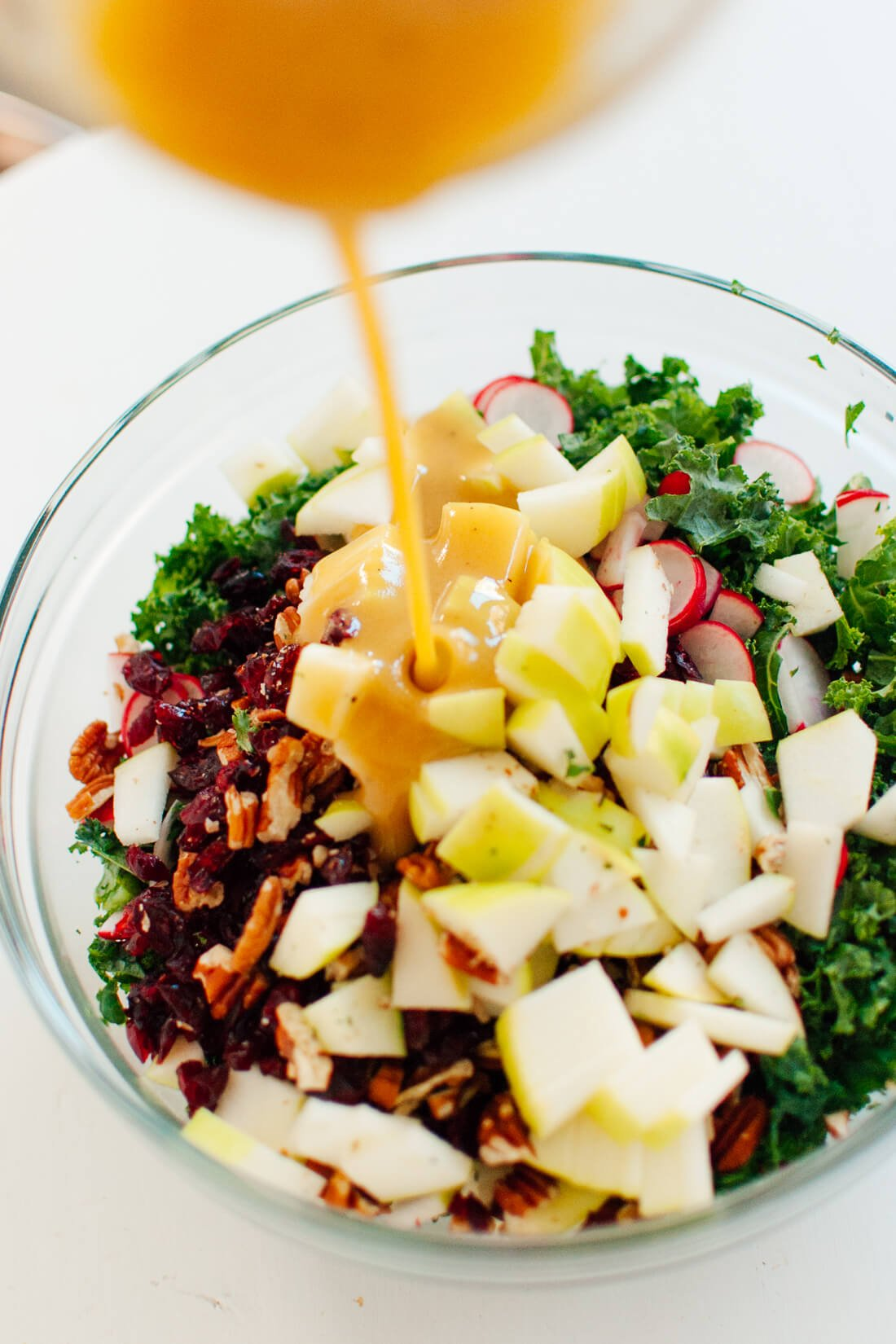 Kale salad with honey mustard dressing