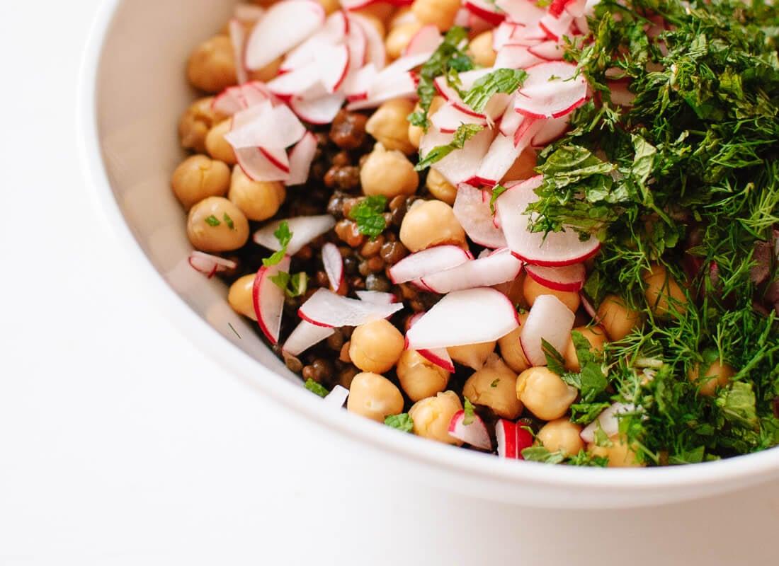 Chickpea, radish, mint and dill salad