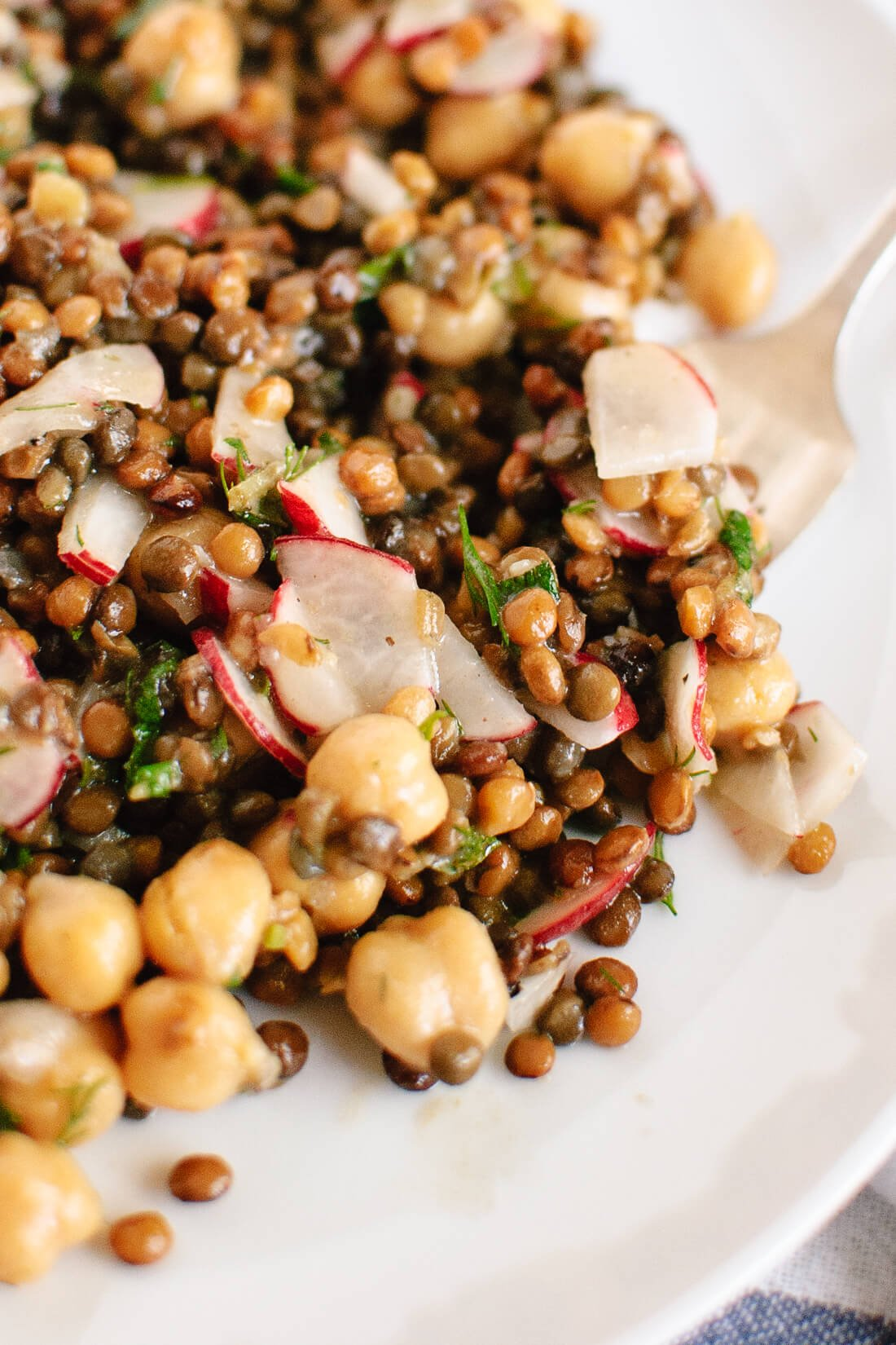 Lemony lentil and chickpea salad with radish and herbs recipe