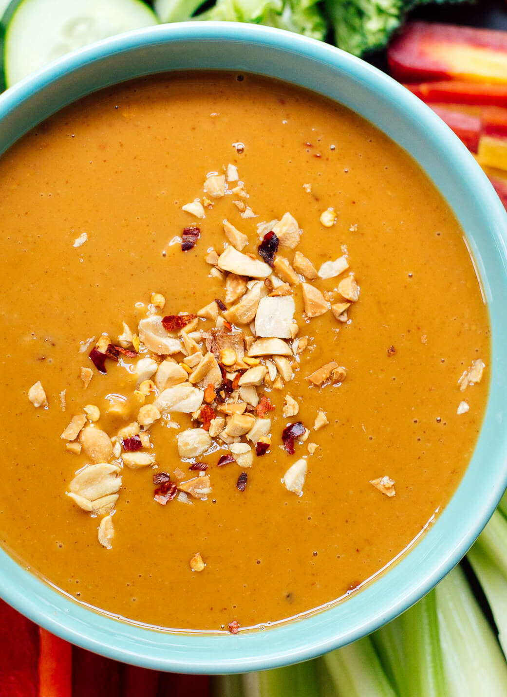 Healthy peanut sauce for dipping and drizzling!