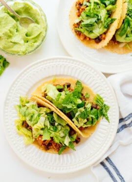 Quinoa black bean tacos with avocado crema