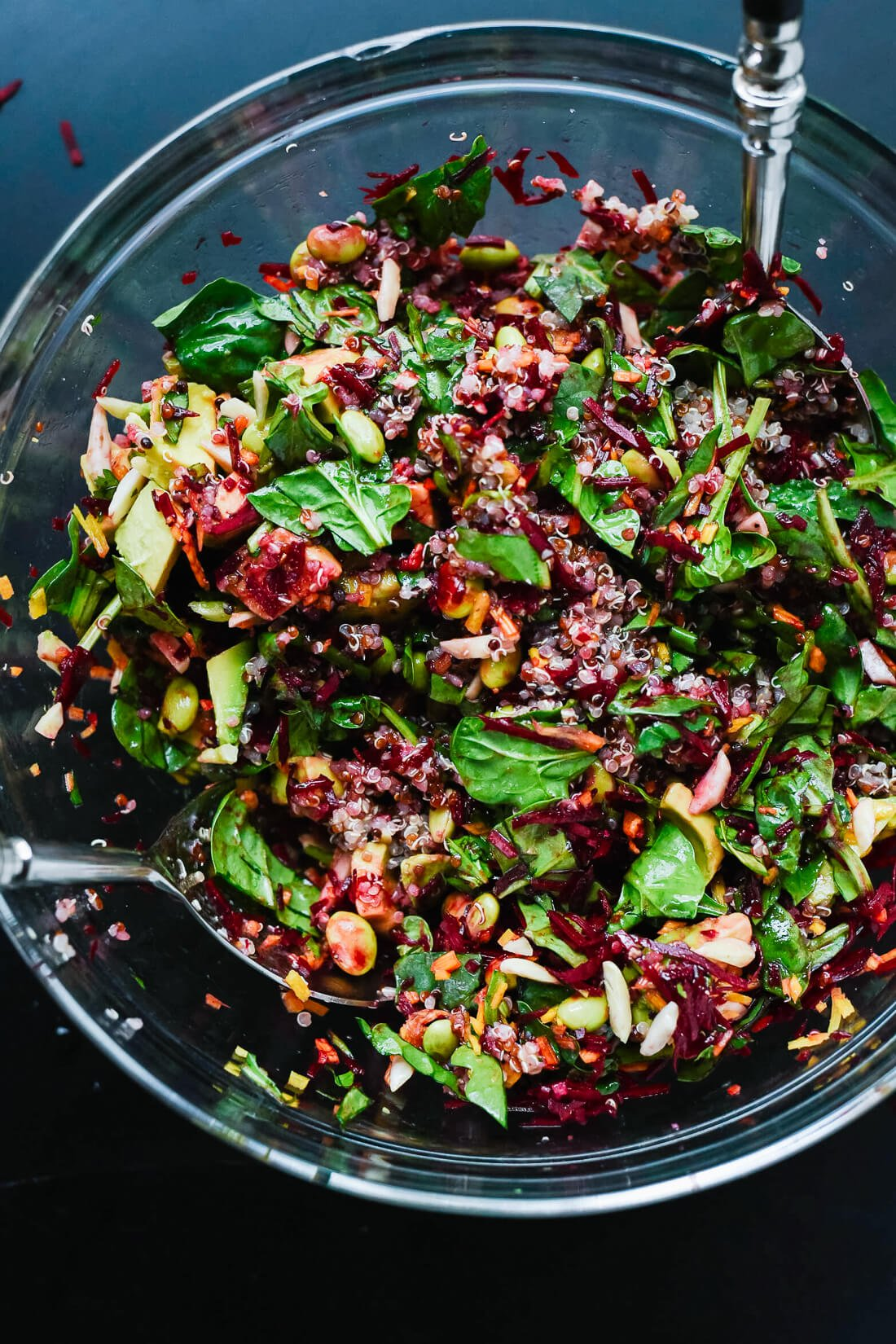 Raw Beet Salad with Carrot, Quinoa & Spinach
