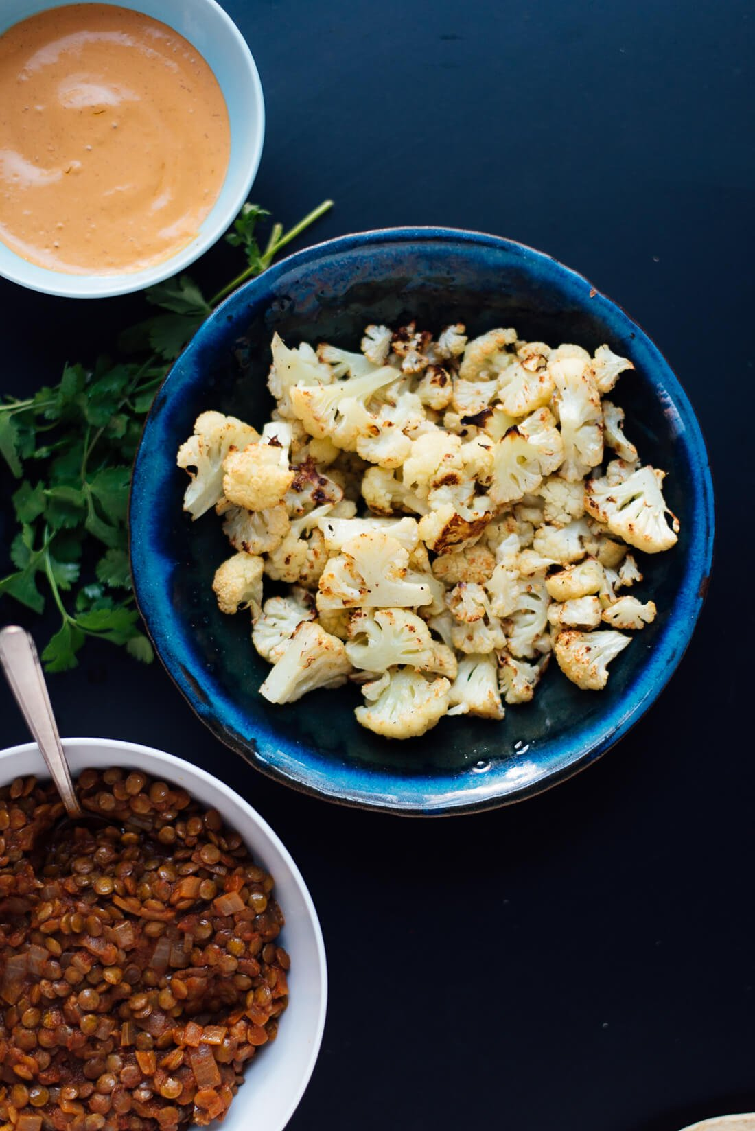 Roasted cauliflower and lentil tacos ingredients
