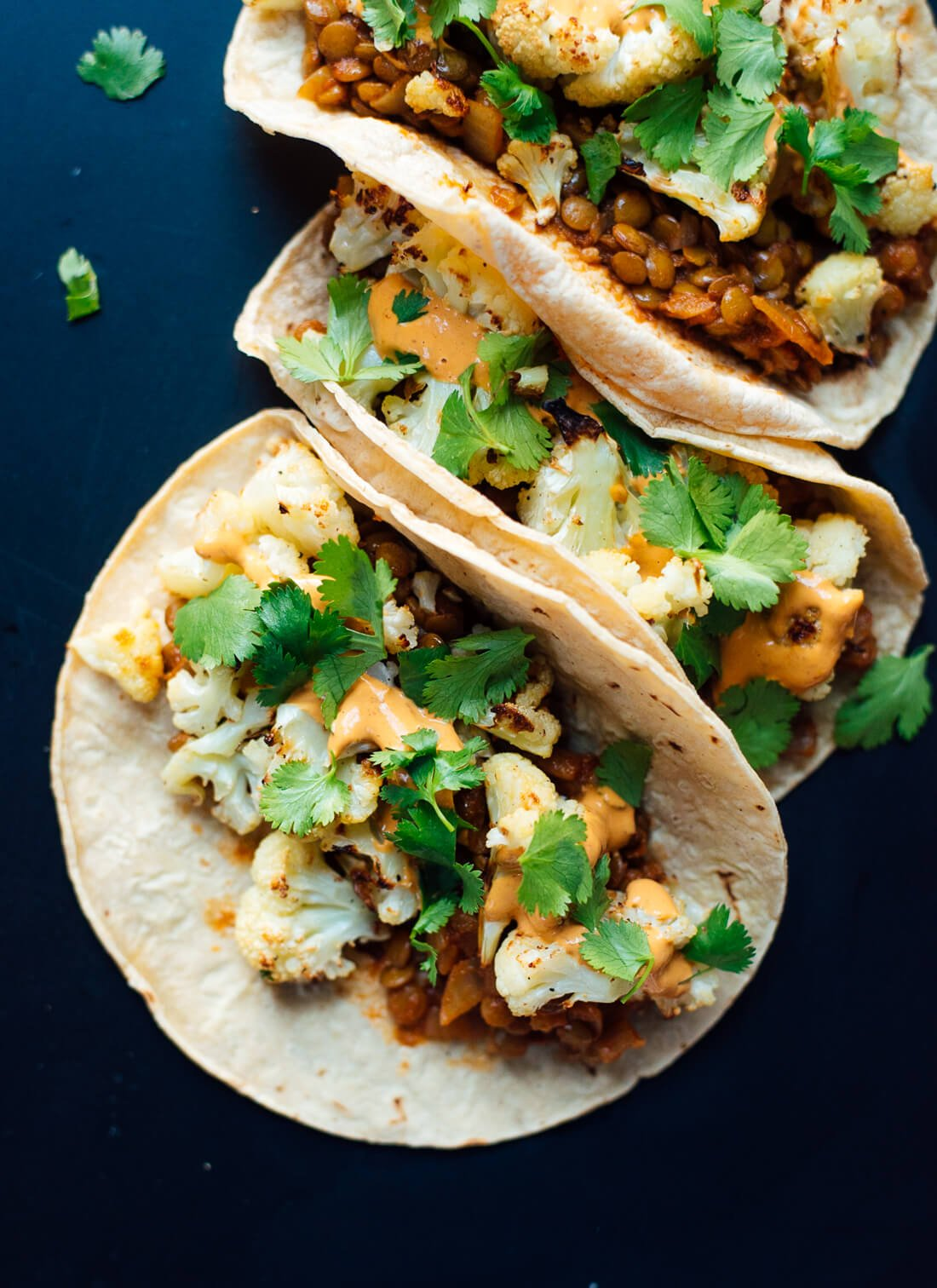 Roasted cauliflower and lentil tacos with creamy chipotle sauce